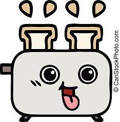 carino, tostapane, cartone animato