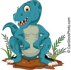 carino, tyrannosaurus, cartone animato, seduta