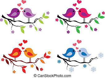 carino, uccelli, con, rosso, cuori, su, albero