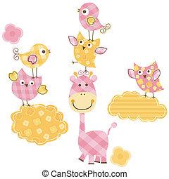 carino, uccelli, &, giraffa