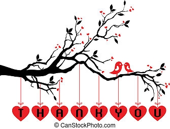 carino, uccelli, su, albero, con, rosso, cuori