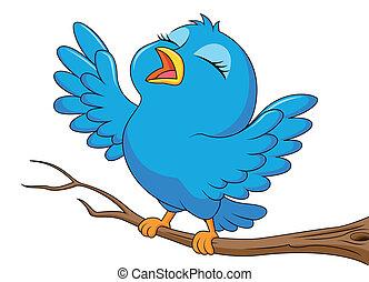 carino, uccello blu, cartone animato, canto