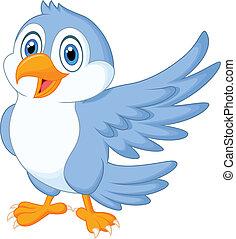 carino, uccello blu, cartone animato, ondeggiare