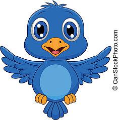 carino, uccello blu, cartone animato, volare