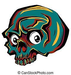 carino, umano, illustrazione, cranio, disegno