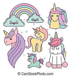carino, unicorni, set, disegno, icona