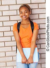 carino, università, giovane, studente, africano