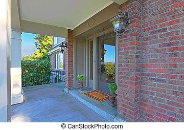 carino, vecchio, casa, vetro, porta principale, mattone