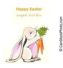 carino, vector., carote, carattere, coniglio coniglietto, presa a terra, pasqua, cartone animato, scheda, felice