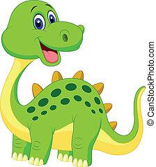 carino, verde, cartone animato, dinosauro