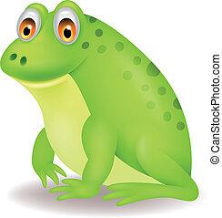 carino, verde, cartone animato, rana