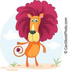 carino, vettore, cartone animato, illustrazione, lion.