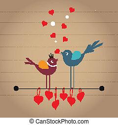 carino, vettore, cartone animato, uccelli