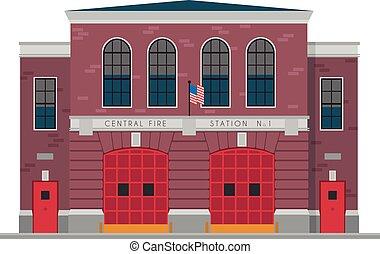 carino, vettore, fuoco, illustrazione, stazione, cartone animato