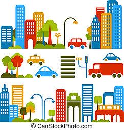carino, vettore, illustrazione, di, uno, strada città
