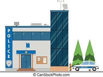 carino, vettore, polizia, illustrazione, stazione, cartone animato