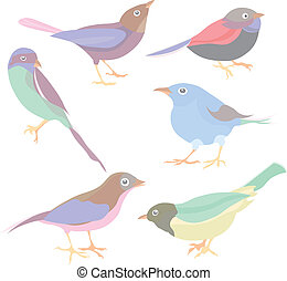 carino, vettore, set, uccelli