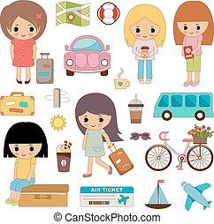 carino, viaggiare, set, ragazze