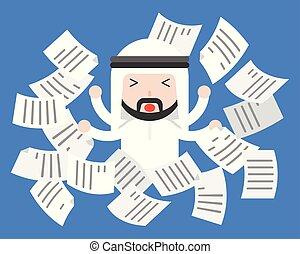 carino, vita, volare, afflizione, affari, carta, lavoro, frustrare, arabo, concetto, uomo affari, situazione, equilibrio, o