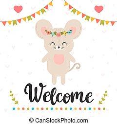 carino, welcome., poster., lettering., motivazionale, quote., mano, inspirational, disegnato, topo