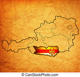 Carinthia on map of austria