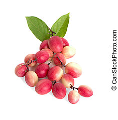 Carissa carandas Linn or Bengal currants, Karanda ,Carunda ,Karonda ,Koromcha fruits an isolated on white background.
