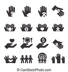 carità, set, icone