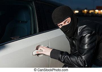 carjacking, fare, vogn forsikring, begreb