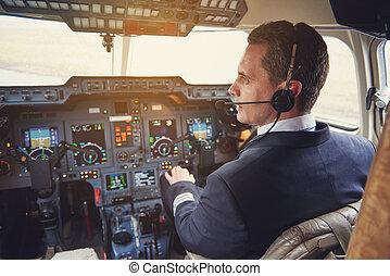 carlinga, aviador, calma, sentado