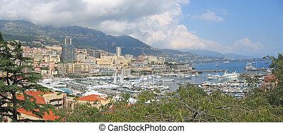 carlo, monte, panorama, azur, francia francesa, costa,...