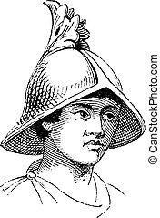 Carlovingian helmet of galea vintage engraving. Old engraved...