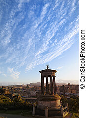 Carlton Hill and the city of Edinburgh - The famous Dugald...