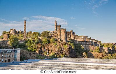 Carlton hill in Edinburgh, blue sky