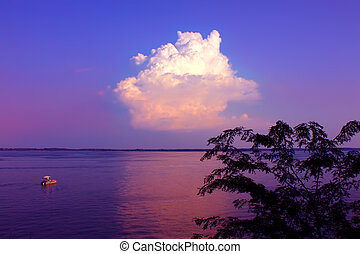 Carlyle Lake in Illinois - Beautiful view of twilight over...