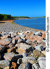 Carlyle Lake in Illinois - Rocky southern shoreline and...