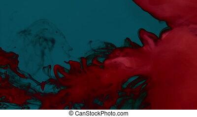 Carmine red smoke on plain dark background