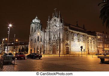 Carmo Church (Igreja do Carmo) illuminated at night, Porto...