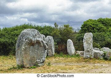 Carnac (Brittany, France): menhir and dolmen - Carnac,...