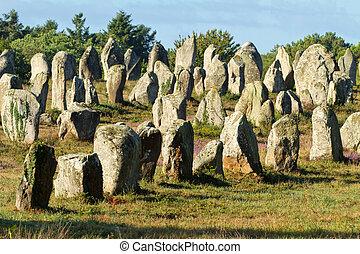 carnac monoliths - Carnac monoliths alignment under morning...