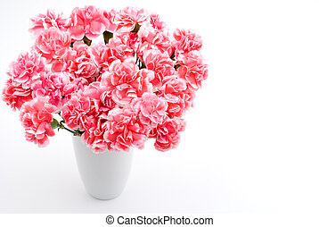 Carnation bouquet - Pink carnation bouquet on a white...
