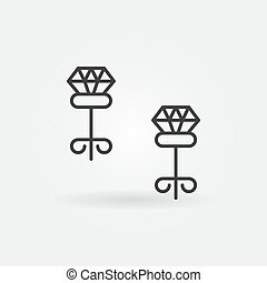 Carnation earrings with diamond vector outline icon