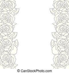Carnation Flower Outline Border, Dianthus caryophyllus -...
