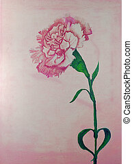 carnation oil paint - pink carnations in a bunch isolated on...