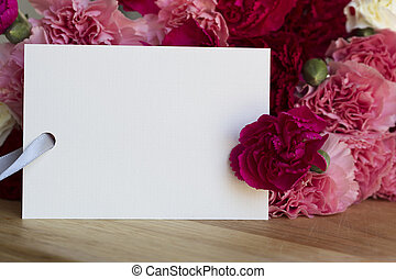 Carnations and Card for Greeting