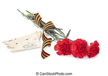 Carnations with George ribbon and old letters on white...