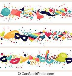 carnaval, ícones, padrão, seamless, objects., celebração