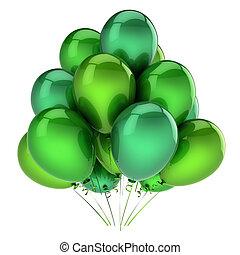 carnaval, balloon, decoração, verde, aniversário, partido, beautiful.