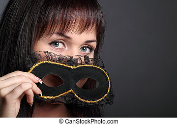 carnaval, belle femme, masque, jeune