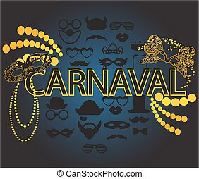 Carnaval blue black and gold vector