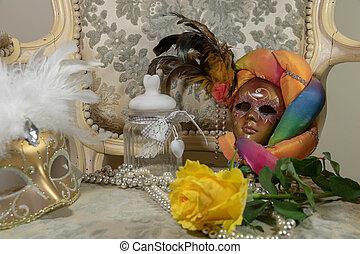 carnaval, boudoir, masques, féminin, bijoux, fleurs